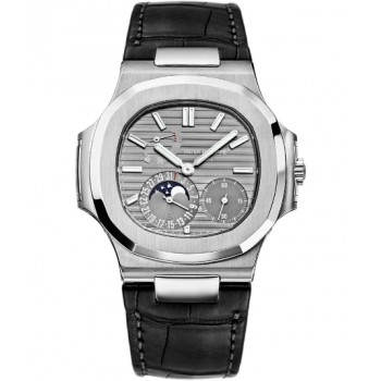 Captain Replica Watch - Patek Philippe Nautilus Moonphase Grey Dial 5712G-001