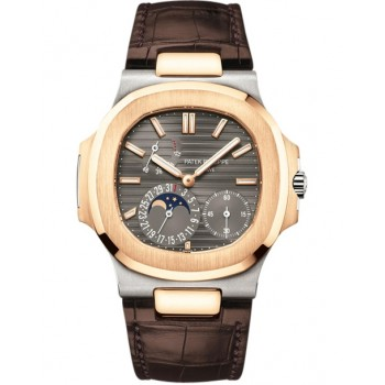 Captain Replica Watch - Patek Philippe Nautilus White & Rose Gold Gray Dial 5712GR-001