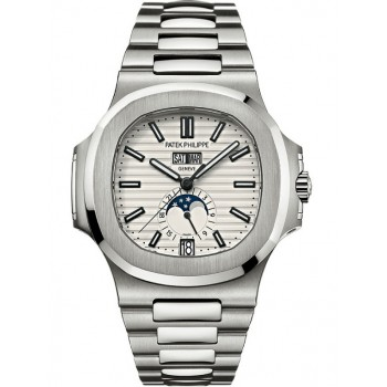 Captain Replica Watch - Patek Philippe Nautilus Annual Calendar Silver Dial 5726/1A-010