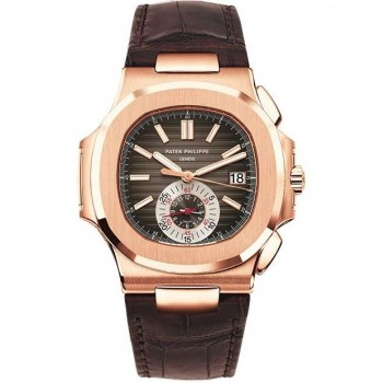 Captain Replica Watch - Patek Philippe Nautilus Rose Gold Brown Dial Chronograph 5980R-001