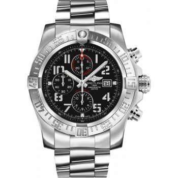 Captain Replica Watch - Breitling Super Avenger II Chronograph Black Arabic Dial A1337111/BC28/168A