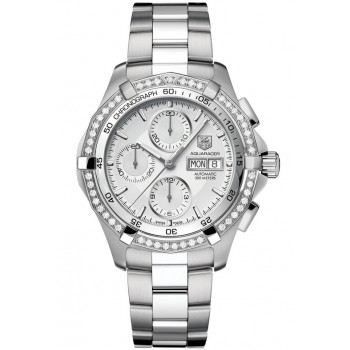 Captain Replica Watch - TAG Heuer Aquaracer 300M Chronograph Silver Dial Diamonds CAF2015.BA0815