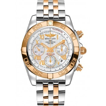 Captain Replica Watch - Breitling Chronomat 41 Two Tone Mother of Pearl White Dial CB014012/A748/378C