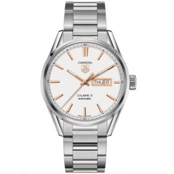Captain Replica Watch - TAG Heuer Carrera Calibre 5 Day Date Steel Silver Dial with Rose Gold WAR201D.BA0723