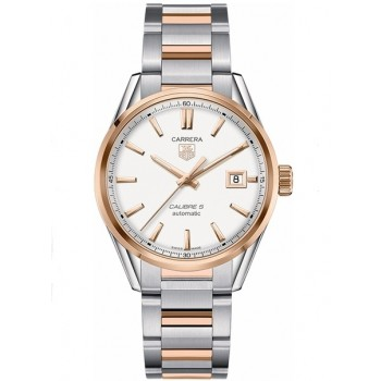 Captain Replica Watch - TAG Heuer Carrera Calibre 5 Date Rose Gold and Steel Silver Dial WAR215D.BD0784