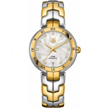 Captain Replica Watch - TAG Heuer Link 34.5mm Two Tone Silver Diamonds For Women WAT2350.BB0957