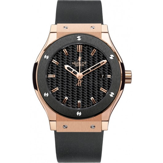 Captain Replica Watch - Hublot Classic Fusion 45mm Rose Gold Black Dial 511.PM.1680.RX