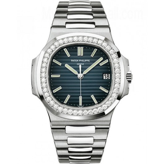 Captain Replica Watch - Patek Philippe Nautilus White Gold Diamonds 5713/1G-010