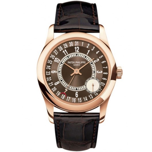 Captain Replica Watch - Patek Philippe Calatrava Rose Gold Brown 6000R-001