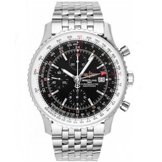Captain Replica Watch - Breitling Navitimer World Stainless Steel Black Dial A2432212/B726/443A