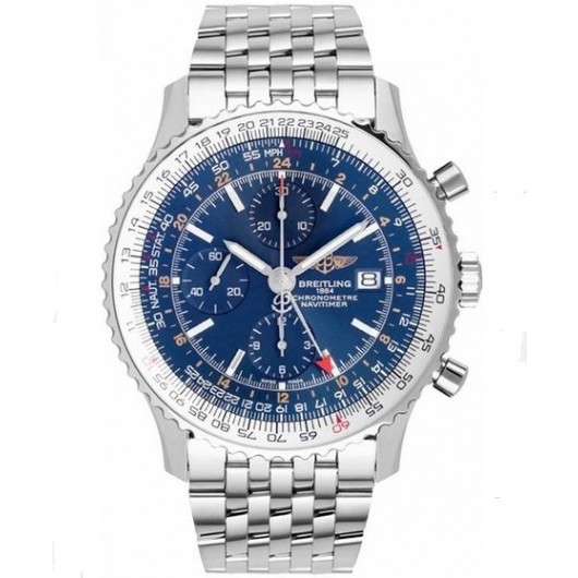 Captain Replica Watch - Breitling Navitimer World Stainless Steel Blue Dial A2432212/C651/453A