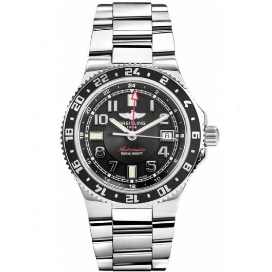 Captain Replica Watch - Breitling Superocean GMT Stainless Steel Black Dial A3238011/BA38-148A