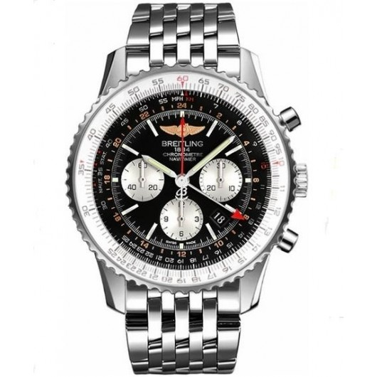 Captain Replica Watch - Breitling Navitimer GMT Stainless Steel Black Dial AB044121/BD24/443A