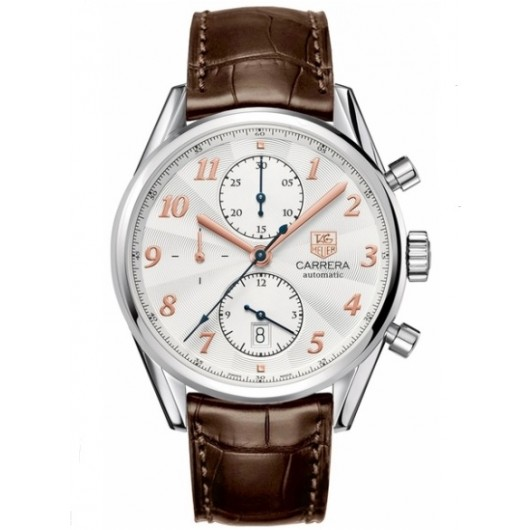 Captain Replica Watch - TAG Heuer Carrera Heritage Calibre 16 Chronograph White Dial Rose Gold CAS2112.FC6291