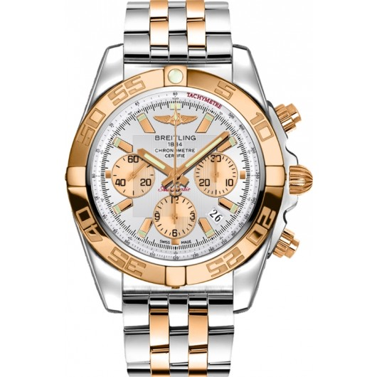 Captain Replica Watch - Breitling Chronomat 44 Two Tone White Dial CB011012/A696/375C