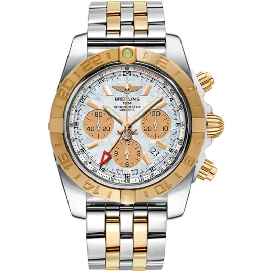 Captain Replica Watch - Breitling Chronomat 44 GMT Two Tone Mother of Pearl White Dial CB042012/A739