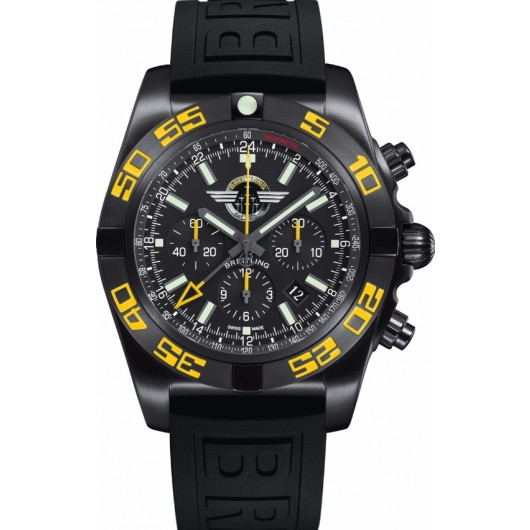 Captain Replica Watch - Breitling Chronomat GMT Black Steel Jet Team America MB04108P/BD76
