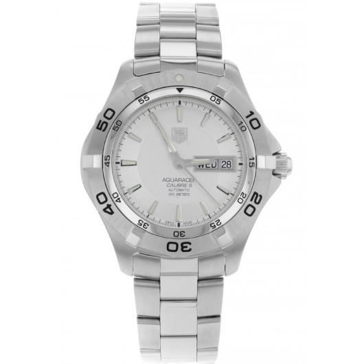 Captain Replica Watch - TAG Heuer Aquaracer 2000 Day Date 41mm Silver Dial WAF2011.BA0818
