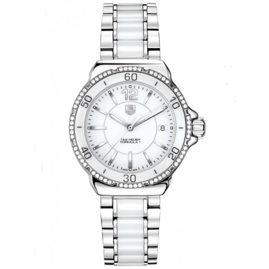Captain Replica Watch - TAG Heuer Formula 1 Steel White Ceramic Diamonds Quartz WAH1213.BA0861