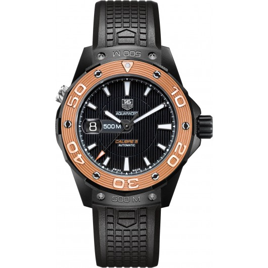 Captain Replica Watch - TAG Heuer Aquaracer 500M Calibre 5 Titanium Rose Gold Bezel WAJ2182.FT6015
