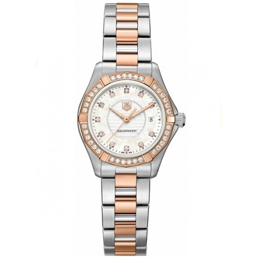 Captain Replica Watch - TAG Heuer Aquaracer 300M 27mm Rose Gold Diamond WAP1452.BD0837