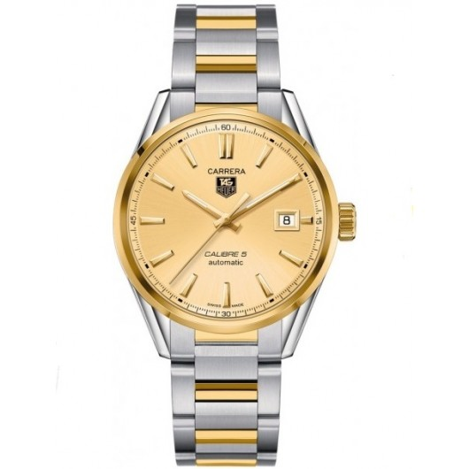 Captain Replica Watch - TAG Heuer Carrera Calibre 5 Date Yellow Gold and Steel Champagne Dial WAR215A.BD0783