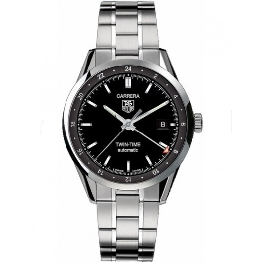 Captain Replica Watch - TAG Heuer Carrera Twin Time Steel Black Dial WV2115.BA0787