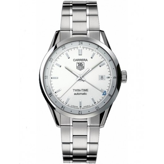 Captain Replica Watch - TAG Heuer Carrera Twin Time Steel Silver Dial WV2116.BA0787