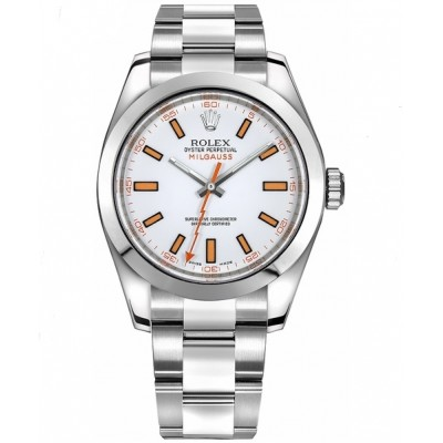 Captain Replica Watch - Replica Rolex Milgauss Steel White Dial 116400