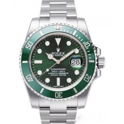Captain Replica Watch - Replica Rolex Submariner Date Steel Green Dial Hulk 116610LV