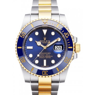 Captain Replica Watch - Replica Rolex Submariner Date Steel Blue Dial Two Tone 116613LB