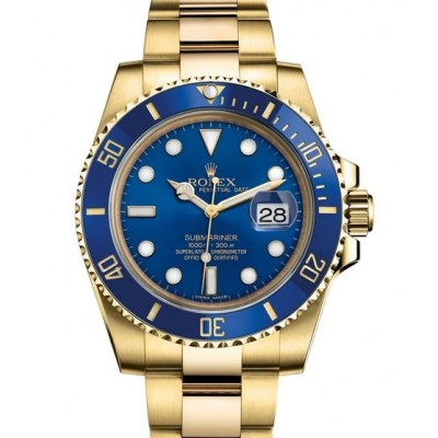 Captain Replica Watch - Replica Rolex Submariner Date Yellow Gold Blue Dial 116618LB