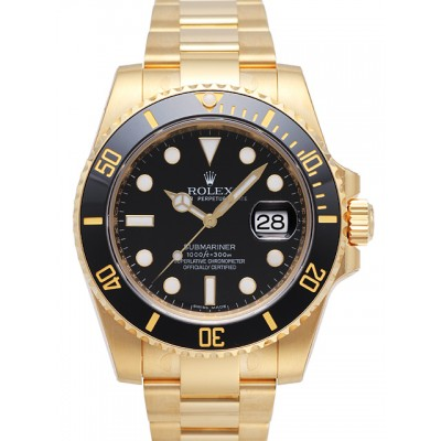 Captain Replica Watch - Replica Rolex Submariner Date Yellow Gold Black Dial 116618LN