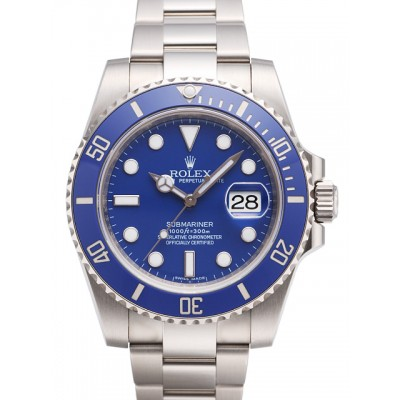 Captain Replica Watch - Replica Rolex Submariner Date White Gold Blue Dial 116619LB