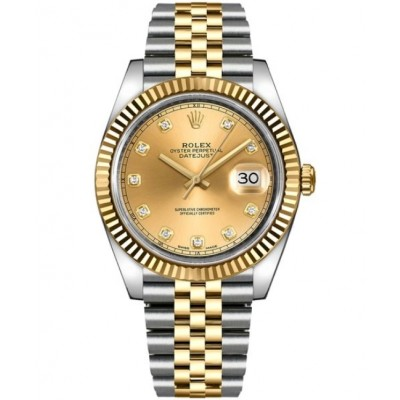Replica Rolex Datejust 41 Champagne Diamonds Dial Watch