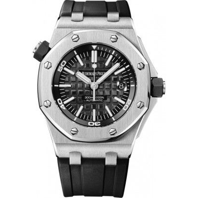 Captain Replica Watch - Audemars Piguet Royal Oak Offshore Diver Black Textured Dial 15703ST.OO.A002CA.01