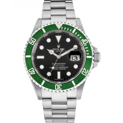 Captain Replica Watch - Replica Rolex Submariner 50th Anniversary Green Bezel Black Dial 16610LV