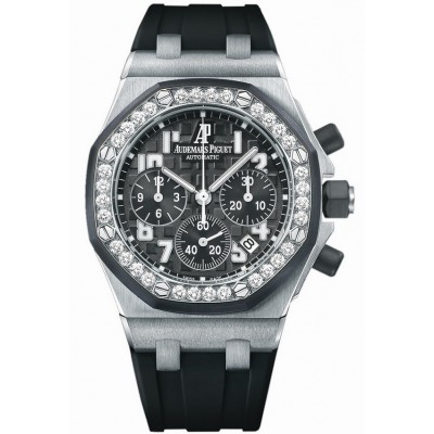 Captain Replica Watch - Audemars Piguet Royal Oak Offshore Diamonds Black Dial 26048SK.ZZ.D002CA.01