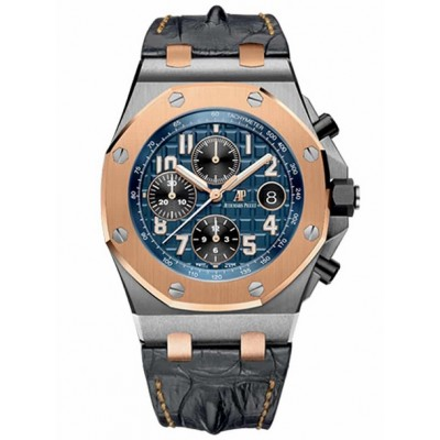 Captain Replica Watch - Audemars Piguet Royal Oak Offshore Chronograph Two Tone Blue Dial 26471SR.OO.D101CR.01