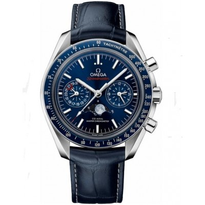 Captain Replica Watch - Omega Speedmaster Moonwatch Moonphase Chronograph Steel Blue 304.33.44.52.03.001