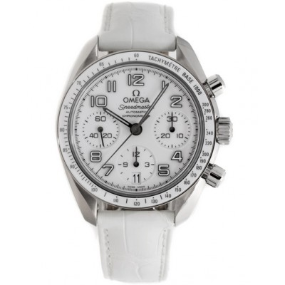 Captain Replica Watch - Omega Speedmaster Date Lady Steel White Dial Chronograph 324.33.38.40.04.001