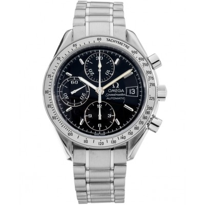 Captain Replica Watch - Omega Speedmaster Date Stainless Steel Black Dial Chronograph 3513.50.00