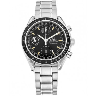 Captain Replica Watch - Omega Speedmaster Day-Date Steel Black Dial Chronograph 3520.50.00