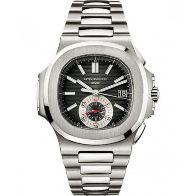 Captain Replica Watch - Patek Philippe Nautilus Steel Chronograph Black Dial 5980/1A-014