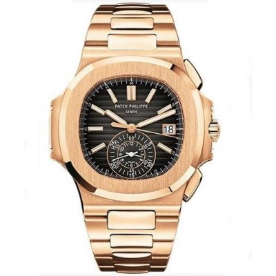 Captain Replica Watch - Patek Philippe Nautilus Rose Gold Black Dial Chronograph 5980/1R-001