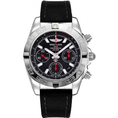 Captain Replica Watch - Breitling Chronomat 41 Steel Black Dial Black Canvas AB014112/BB47/102W