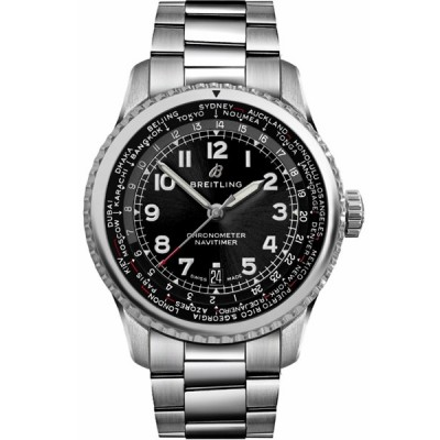 Captain Replica Watch - Breitling Navitimer 8 B35 Unitime Black Dial AB3521U41B1A1