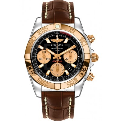 Captain Replica Watch - Breitling Chronomat 41 Steel Rose Gold Black Dial CB014012/BA53/725P
