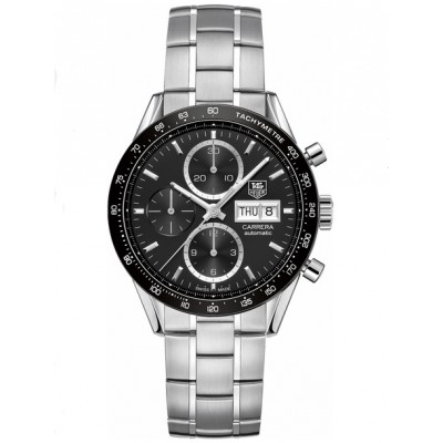 Captain Replica Watch - TAG Heuer Carrera Day Date Chronograph Steel Black Dial CV201AG.BA0725