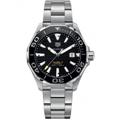 Captain Replica Watch - TAG Heuer Aquaracer Calibre 5 300M Steel Black Dial WAY201A.BA0927